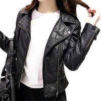 Brand Clothing Leather Jacket Women Black Punk 2018 Jackets Crop Jacket Plus Size Coat ZMF789542