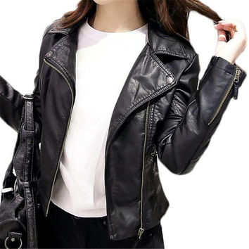 Brand Clothing Leather Jacket Women Black Punk 2016 Jackets Crop Jacket Plus Size Coat ZMF789542