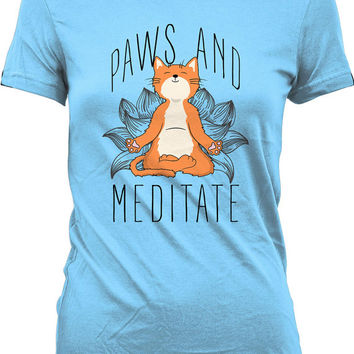 Funny Meditation Shirt Paws And Meditate Meditation T Shirt Cat T Shirt Meditation Clothing Gifts For Cat Lovers Ladies Tee WT-156