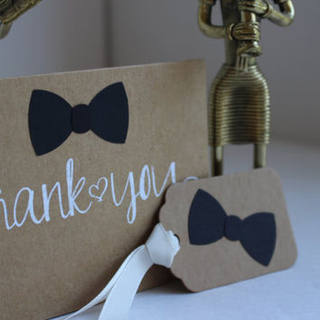 Little Man Birthday party - Bow Tie Package - Thank you Cards and Gift Tags