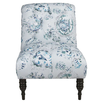 Eloise Armless Tufted Chair, Azur/Multi, Accent & Occasional Chairs