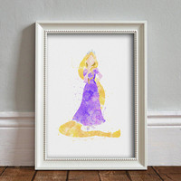 Rapunzel WATERCOLOR Art illustration, Disney Princess, Wall Art, Nursery, Digital Poster Print, INSTANT DOWNLOAD