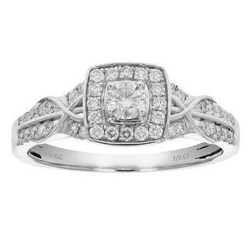 0.31 Carats 1/2 CT Diamond Engagement Ring 14K White Gold