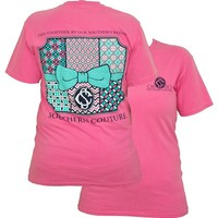 Southern Couture Preppy Pattern Quilt Bow Chevron Comfort Colors Crunchberry Girlie Bright T Shirt