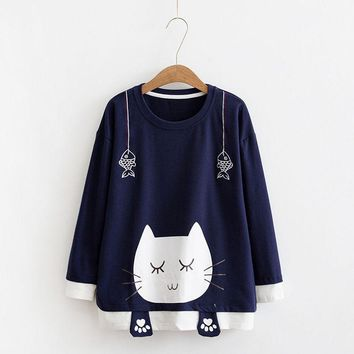 Cute Sleeping Cat Printed Sweatshirt