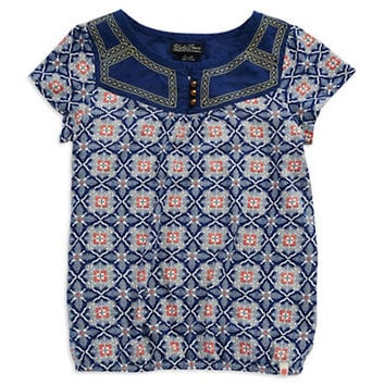 Lucky Brand Girls 7-16 Patterned Peasant Top