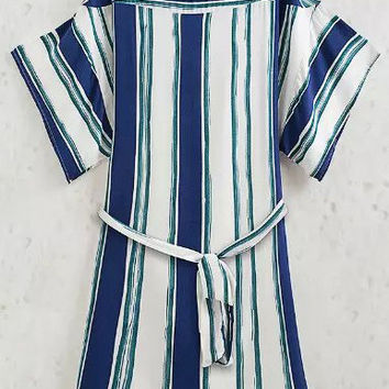 Blue White Vertical Striped Belted Short Sleeve A-Line Mini Dress
