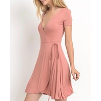 faux wrap short dress - ginger