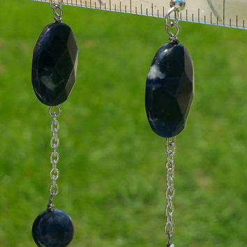"Sodalite beaded dangle earrings w sterling silver hooks 3"" drop"