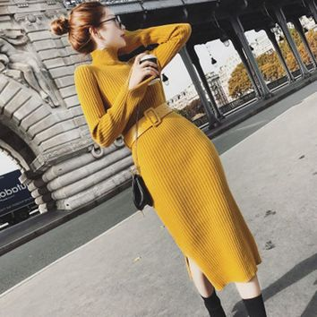 New Fall Winter Long Sexy Bodycon Dresses With Belt Warm Charm Split Side Sweater Dress Women Sheath Knitted Dress Vestidos