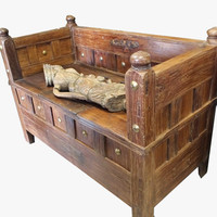 Entryway Furniture Rustic Bench with Storage Brass Accent Trunk Chest