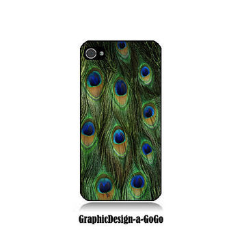 Iphone 4/4s case, Peacock Feathers, custom cell phone case, Original design