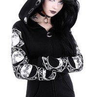 Moon Magick Oversized Hood Moon Phases Gothic Black Hoodie