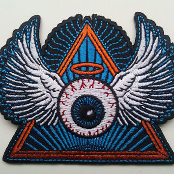 NEW - psychedelic eye with wings embroidered patch - original artwork - grateful dead phish bisco biker