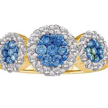 Blue Diamond Flower Ring in 14k Gold 1 ctw