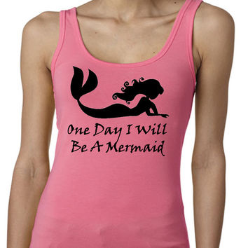 Disney One Day I Will Be A Mermaid Little Mermaid Ariel Exercise Tank Regular Back Multi Colors Available Womens T-Shirt