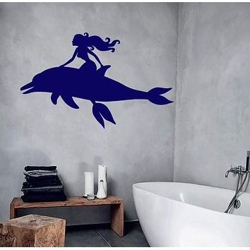 Vinyl Wall Decal Dolphin Sexy Girl Mermaid Marine Style Stickers Unique Gift (746ig)