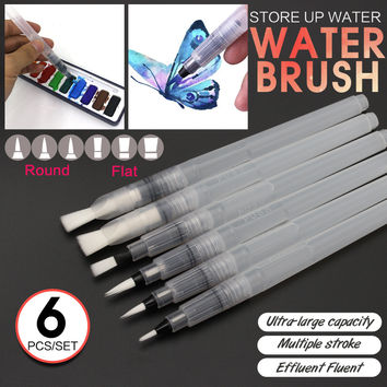 6Pcs Different Shape Large Capacity Barrel Water Paint Brush Set For Self Moistening Pen Calligraphy Drawing Art Supplies