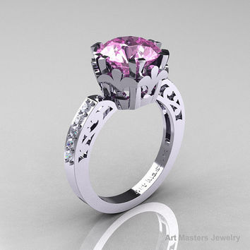 Modern Renaissance 14K White Gold 3.0 Carat Light Pink Sapphire Diamond Solitaire Ring R402-14KWGDLPS