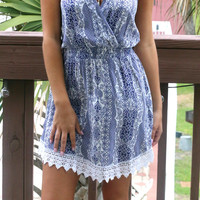 Indie Goddess Navy Print Flare Dress