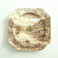 Antique Johnson Brothers Plates . Olde English Countryside . Ironstone Transfer Ware . Set of Four