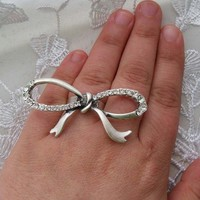 Bow Ring Silver plated and Adjustable Size by essu on Etsy