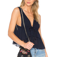 See By Chloe Ruffle Top in Navy | REVOLVE