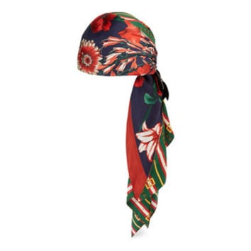 Gucci Square GG belts and spring bouquet silk turban