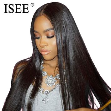 ISEE HAIR Bundles With Closure Brazilian Straight Hair Bundles With Closure Straight Hair Virgin Human Hair Bundles With Closure