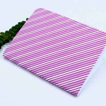 Pink Fuscia White Diagonal Stripes Traveler's Notebook Journal Stationary Planner Insert Blank Pages Sketchbook
