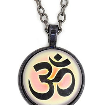Om Symbol Necklace Silver Tone Aum NX67 Hindu Buddhist Yoga Art Print Pendant Fashion Jewelry