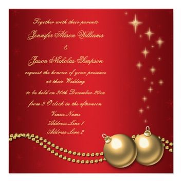 Wedding Invitation Red with Gold Christmas Baubles