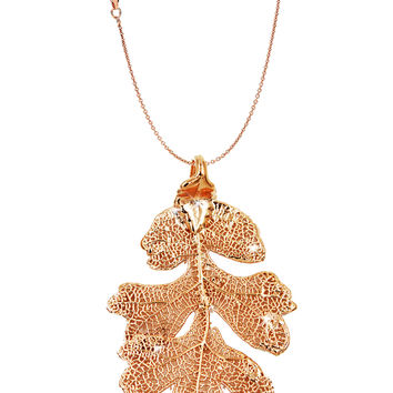Real Leaf PENDANT with Chain Lacey OAK in Dipped Rose Gold Genuine Leaf Necklace