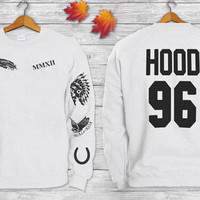 Calum Hood Tattoos 5SOS ADD HOOD 96 screen print front and back Crewneck  Sweatshirt  Sweater and Hoodie sleeve Jumper in Grey White