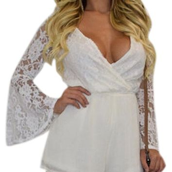 Sexy Lace Up Bell Sleeve Plunging Wrapover Romper
