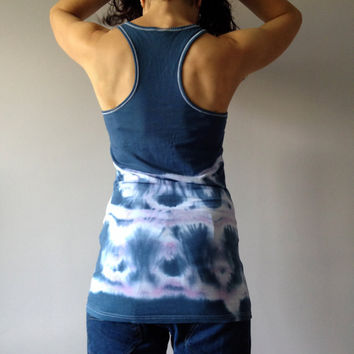 Ombre Women's Blue Tank Size Large Hand Dyed Unique Top Tie Dye Uncycled Singlet Vegan Outfit One Of A Kind Blue Cotton Tee Shirt Slim Fit