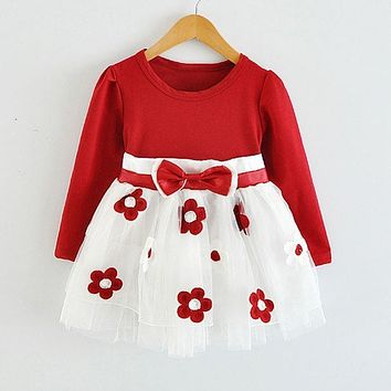 HOT New Infant Baby Girls Long Sleeve Flower Lace Tutu Dresses vestidos Todler Kids Cute 1 Year Birthday Wedding Party Dress Z1
