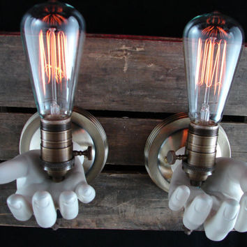 Upcycled MANnequin Hand Lighting Sconce by BenclifDesigns on Etsy