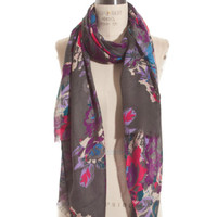 Grey Frolic in Floral Scarf