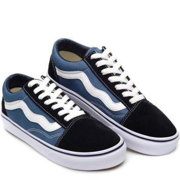 """Vans"" With Warm Casual Shoes Men and women classic black cloth shoes (3 color) blue"