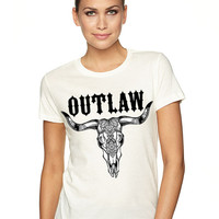 Ladies OUTLAW boho cowskull Western graphic t shirt ladies Bohemian top clothes hippie boho shirt girls Old West Southern shirt womens tee