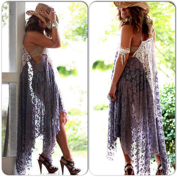 Gypsy Tunic Dress, Wanderlust, Bohemian Magnolia lace Pearl, Boho dresses Stevie Nicks Style, Festival clothing, True Rebel clothing Large