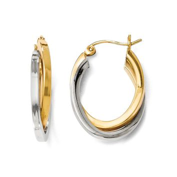 4mm Polished Crossover Oval Hoop Earrings in 14k Two Tone Gold, 22mm