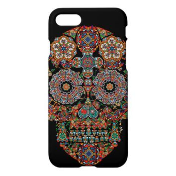 Flower Sugar Skull Glossy iPhone 7 Case