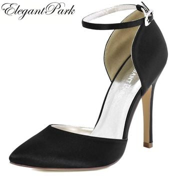Woman Black Pointy High Heel Prom Pumps Ankle Strap Satin Bride df47eac1495d
