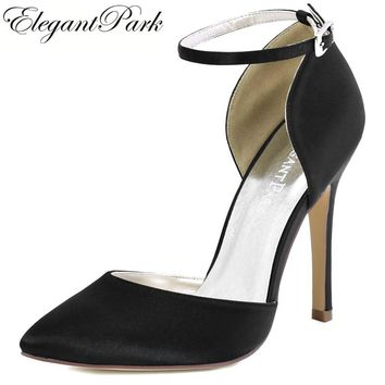 Woman Black Pointy High Heel Prom Pumps Ankle Strap Satin Bride Bridesmaids Wedding Bridal Evening Shoes HC1602 Navy blue Teal