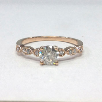 Moissanite Engagement Ring 14K Rose Gold!Diamond Wedding Bridal Ring,Art Deco Antique,5mm Round Cut C&C Moissanite,Can make matching Band