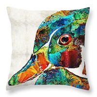 """Colorful Wood Duck Art by Sharon Cummings Throw Pillow 14"""" x 14"""""""