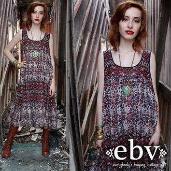 Vintage 70s India Cotton Hippie Boho Festival Tent Dress S M L XL Plus Size