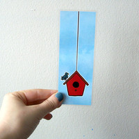 Birdhouse Laminated Illustrated Bookmark by sacari on Etsy